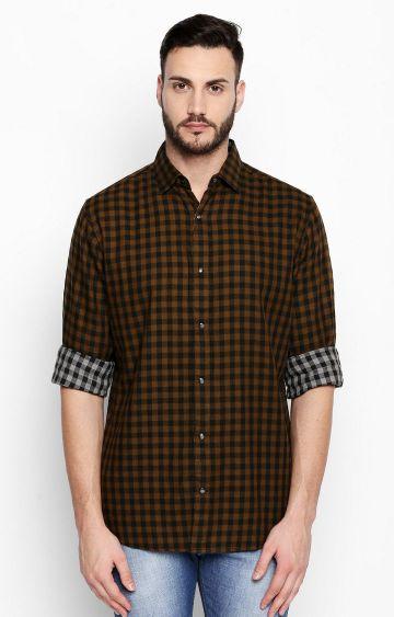 DISRUPT   Khaki Checked Casual Shirt