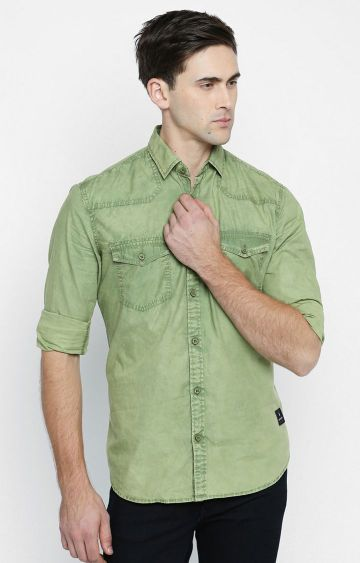 DISRUPT | Green Solid Casual Shirt