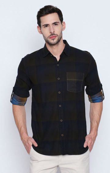 DISRUPT | Olive Checked Casual Shirt