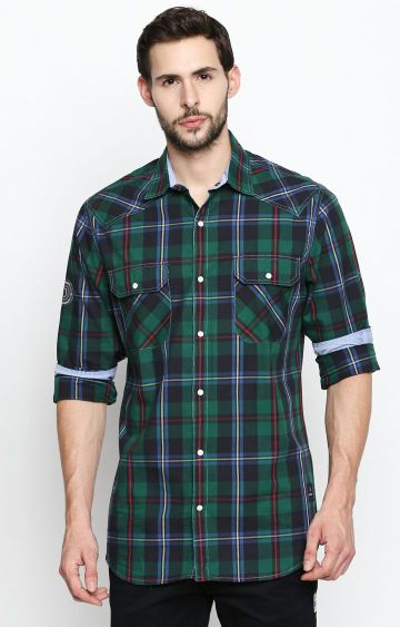 DISRUPT | Green Checked Casual Shirt