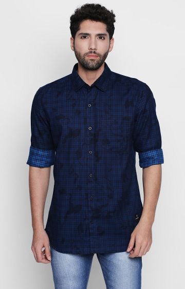 DISRUPT | Navy Checked Casual Shirt