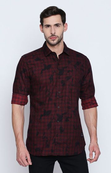 DISRUPT | Red Checked Casual Shirt