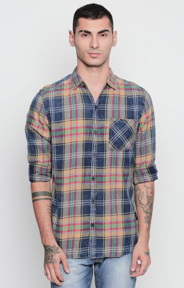 DISRUPT | Beige and Navy Checked Casual Shirt