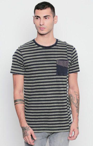DISRUPT | Green Striped T-Shirt