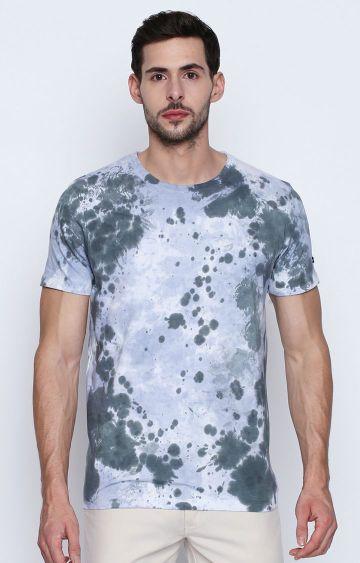 DISRUPT | Grey and Blue Printed T-Shirt