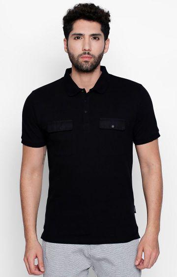 DISRUPT | Black Solid Polo T-Shirt