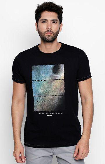 DISRUPT | Black Printed T-Shirt