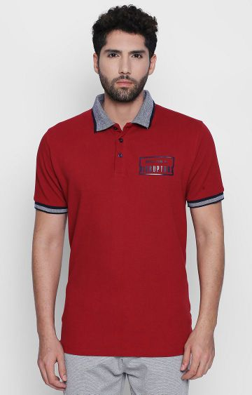 DISRUPT | Red Solid Polo T-Shirt