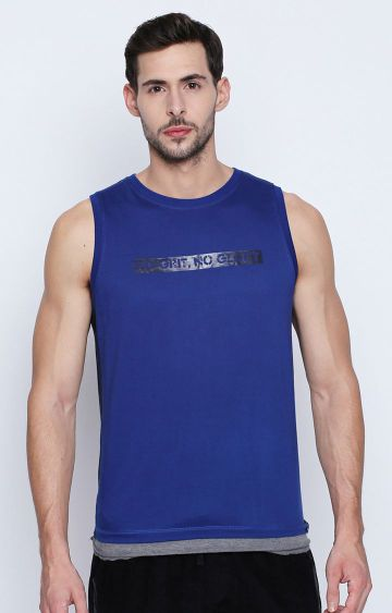 DISRUPT | Blue Solid Sleeveless T-Shirt