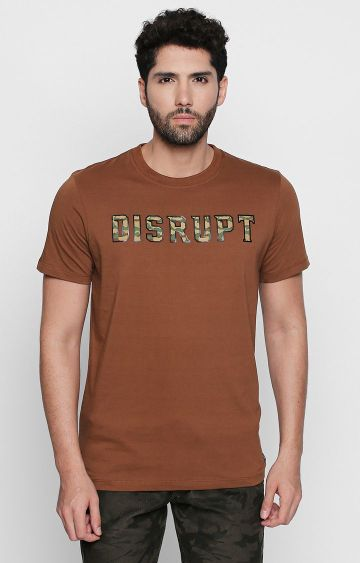 DISRUPT | Brown Solid T-Shirt