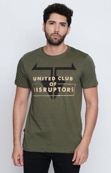DISRUPT | Olive Printed T-Shirt