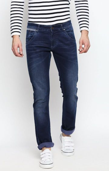 DISRUPT   Blue Solid Straight Jeans