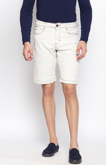 DISRUPT | Cream Solid Shorts