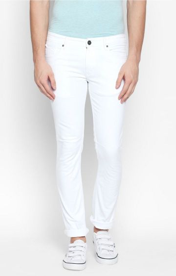 DISRUPT | White Solid Straight Jeans