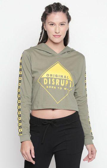 DISRUPT | Light Olive Printed Crop Hoodie
