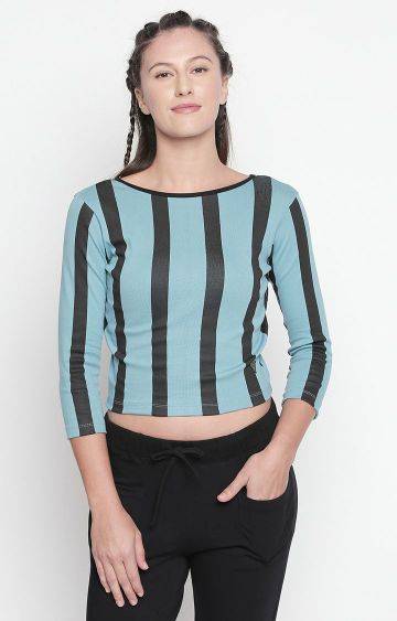 DISRUPT | Light Blue Striped Crop Top