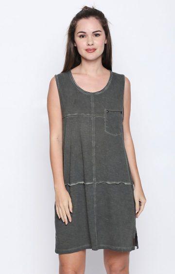 DISRUPT | Olive Solid Shift Dress