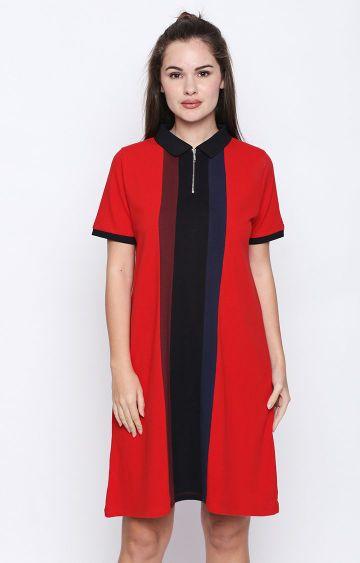 DISRUPT | Red Colourblock Shirt Dress