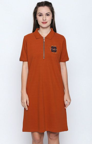 DISRUPT   Rust Solid Polo Dress
