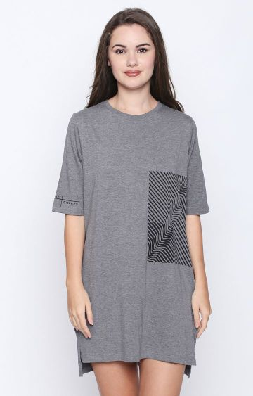 DISRUPT | Grey Melange Shift Dress