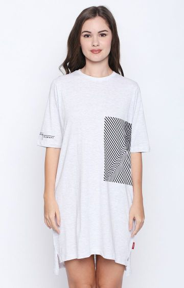 DISRUPT   White Melange Shift Dress