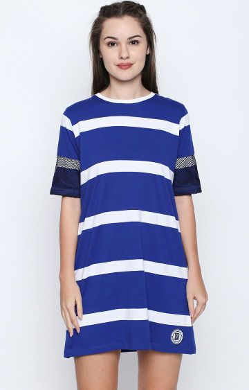 DISRUPT | Royal Blue Striped Shift Dress