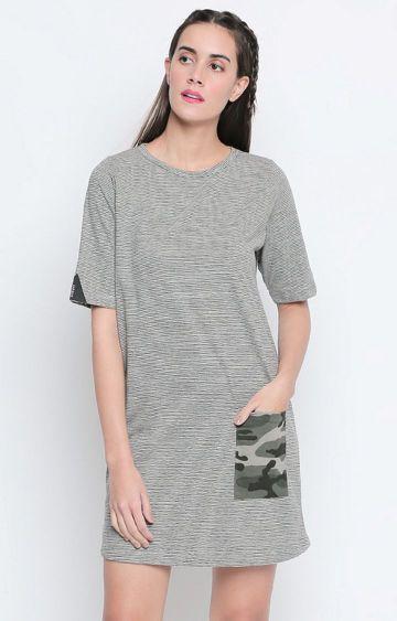 DISRUPT | Grey Striped Shift Dress