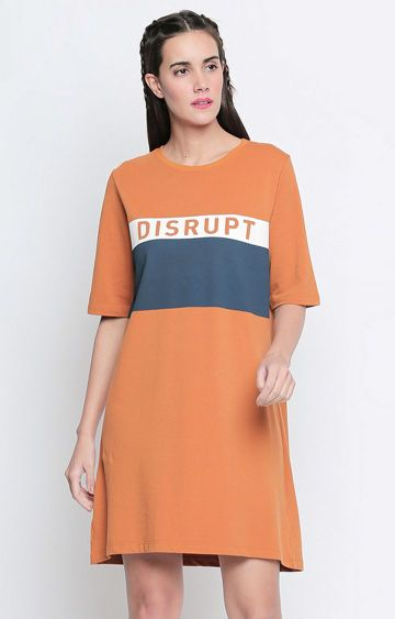 DISRUPT | Orange Colourblock Shift Dress