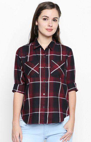 DISRUPT | Maroon and Black Checked Casual Shirt