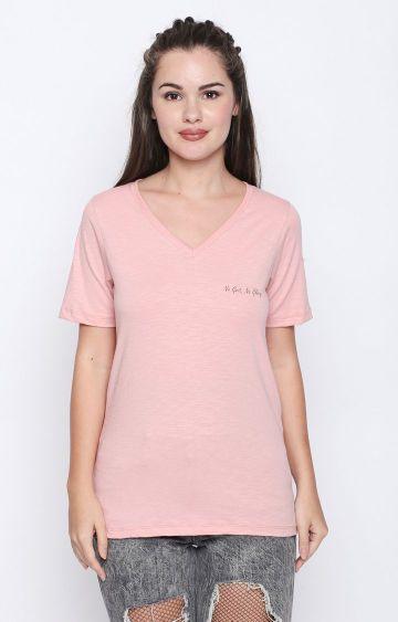 DISRUPT   Pink Solid T-Shirt