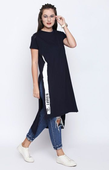 DISRUPT | Navy Solid Maxi Top