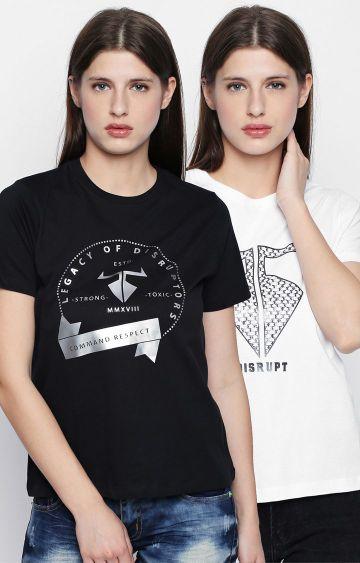 DISRUPT | Black and White Printed T-Shirt
