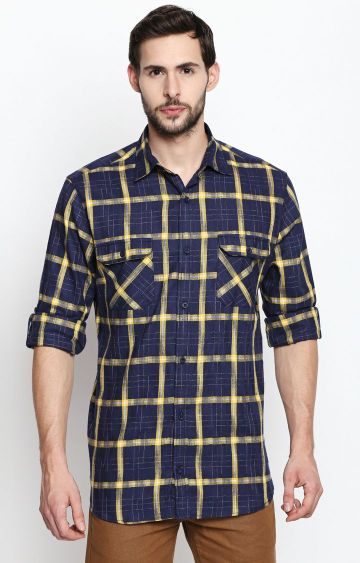 DISRUPT | Yellow and Navy Checked Casual Shirt