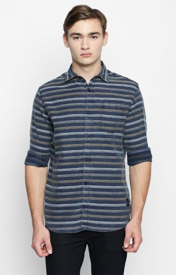 DISRUPT | Navy Striped Casual Shirt