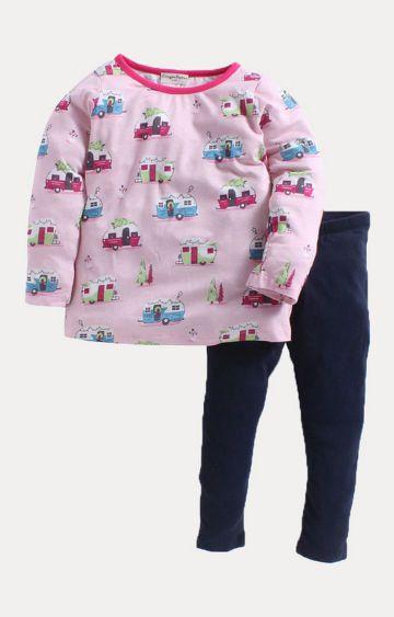 Crayonflakes | Pink and Navy Printed Twin Set