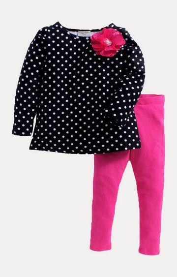Crayonflakes | Black and Pink Printed Twin Set