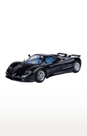 Hamleys | Motormax 1 - 18 Pagani Zonda C12 Diecast Car Mounted On A Plastic Stand and with The Name Lable