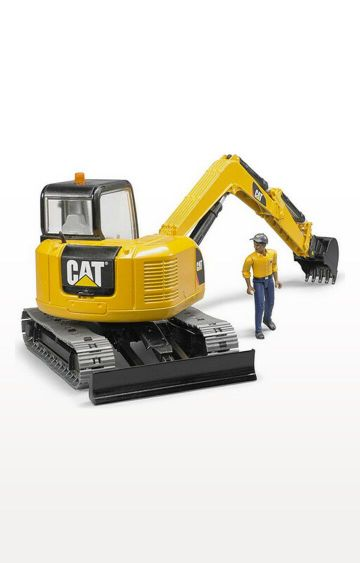 Hamleys | Yellow Cat Minibagger Mit Bauarbeiter