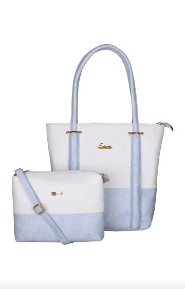 ESBEDA   White and Blue Tote and Sling Bag Combo