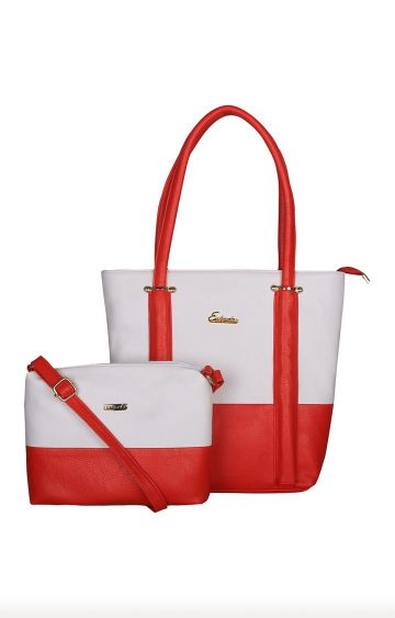 ESBEDA   White and Red Tote and Sling Bag Combo