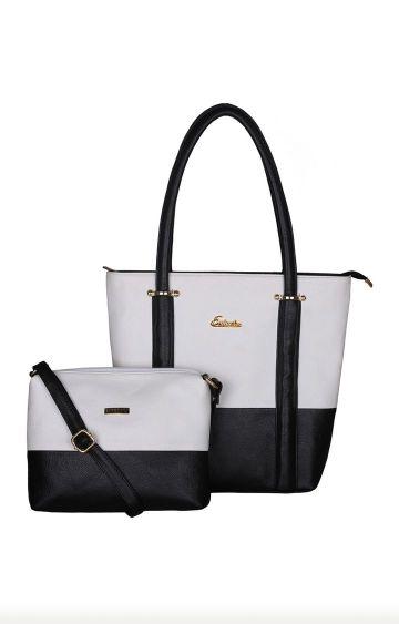 ESBEDA   White and Black Tote and Sling Bag Combo