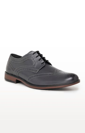 Noble Curve   Grey Derby Brogues Shoes