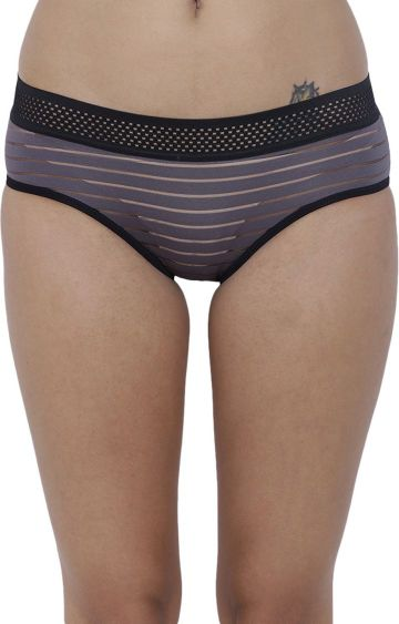 BASIICS by La Intimo | Grey Striped Hipster Panties