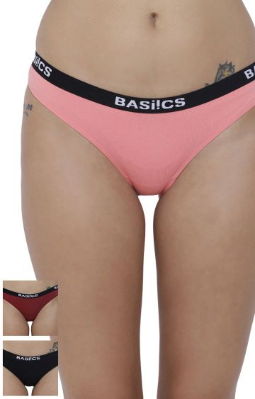 BASIICS by La Intimo | Multicoloured Solid Bikini Panty - Pack of 3