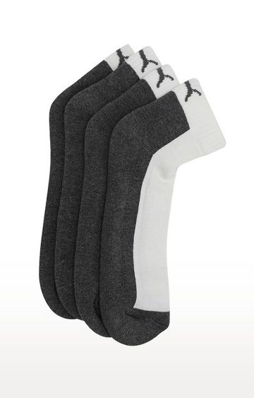 Puma | White and Grey Solid Socks - Pack of 2