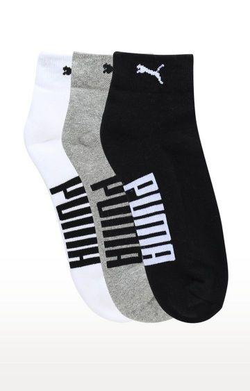 Puma | Black, Grey and White Printed Socks - Pack of 3