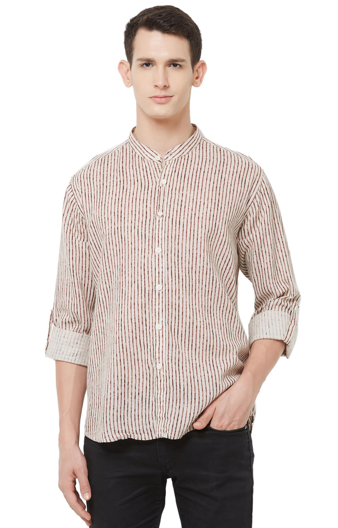 EVOQ | White Striped Linen Casual Shirt
