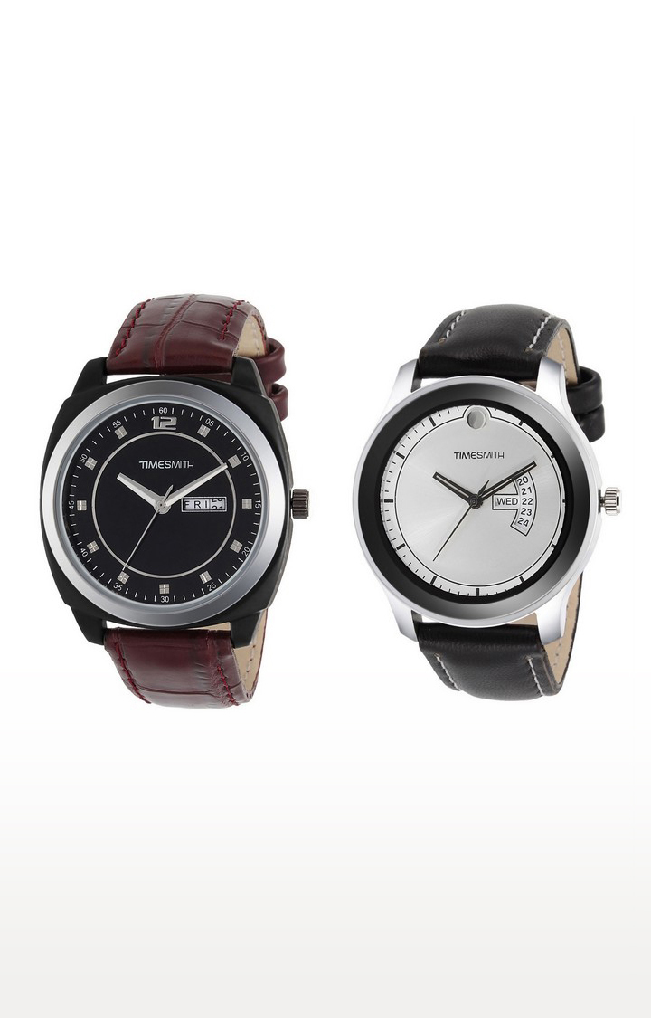 Timesmith | Timesmith Brown and Black Analog Watch - Set of 2 For Men