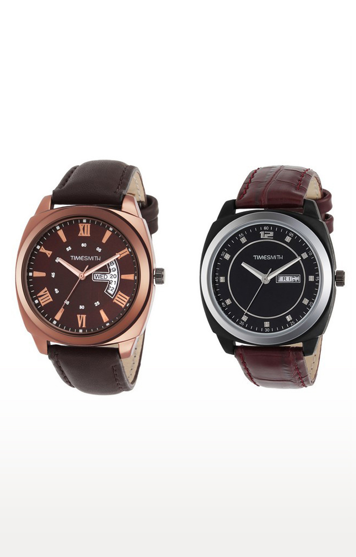 Timesmith   Timesmith Brown Analog Watch - Set of 2 For Men