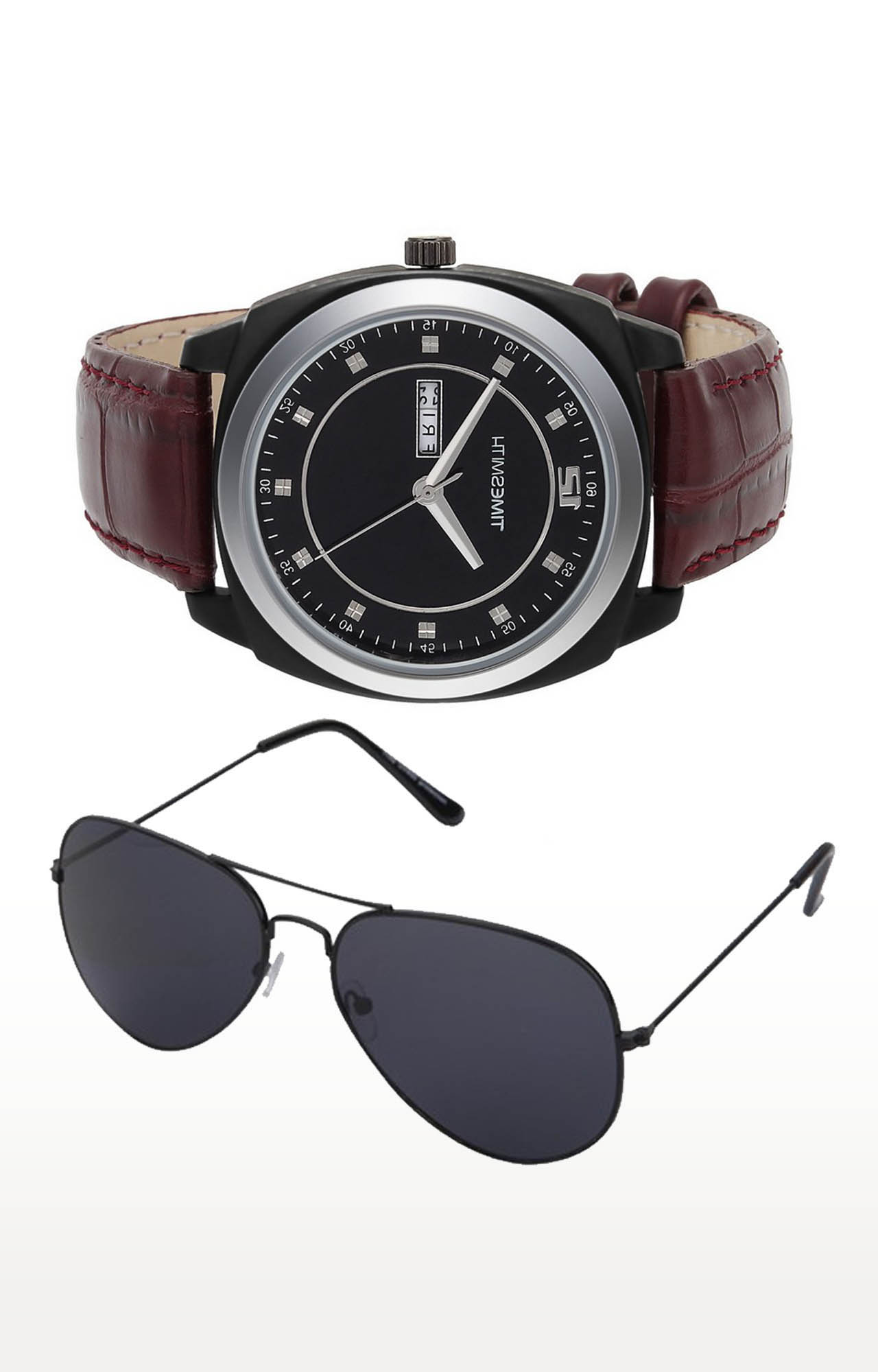 Timesmith   Timesmith Brown Analog Watch and Aviators Combo For Men